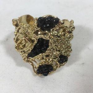 Jewelry - GOLD WITH BLACK STONE CUFF BRACELET